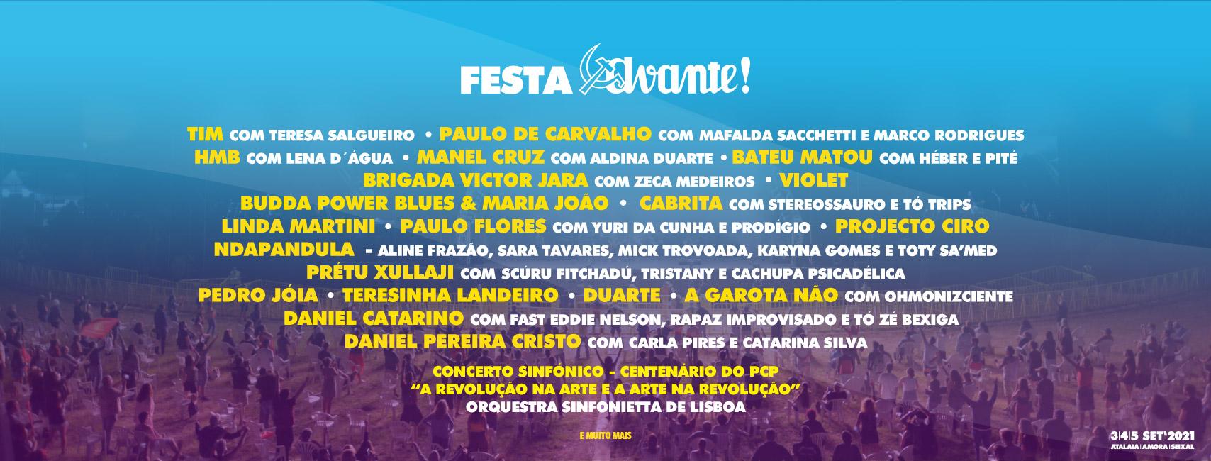Festa do Avante 2021 cartaz | artistas - bandas